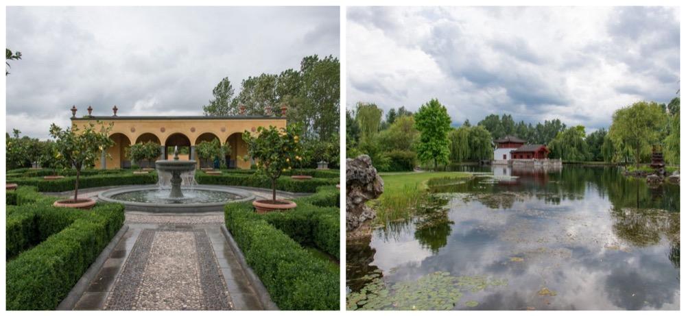 Le jardin Renaissance à l'italienne - Vue sur le lac du jardin chinois depuis la Berghaus zum Osmanthussaft, où il est possible de vous arrêter pour savourer un thé – vaste choix.