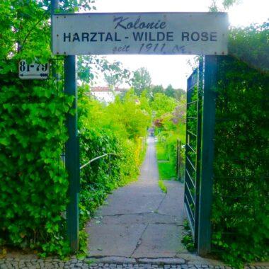 Entrée d'une Kolonie à Berlin : jardin communautaire