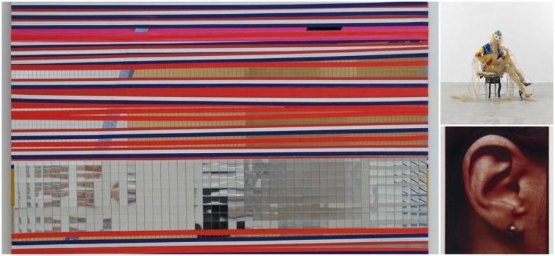 Soziale Fassade 2012 Metall, Kunststoff, Metallfolie 70x100cm Ringier Sammlung, Zürich Galerie Buchholz, Köln/Berlin/NewYork  - Schauspieler  2013 Schaufensterpuppe, Stuhl, Schuhe, Perücke, Holz, Stoff, Kunststoff und Metall, Maße variabel Sammlung Syz Genf, Courtesy Galerie Buchholz, Köln/Berlin/NewYork - Ohr 1980/2012  Chromogener Farbdruck 152,5 x 107 cm Sammlung der Künstlerin  © Isa Genzken, VG Bild-Kunst, Bonn 2016